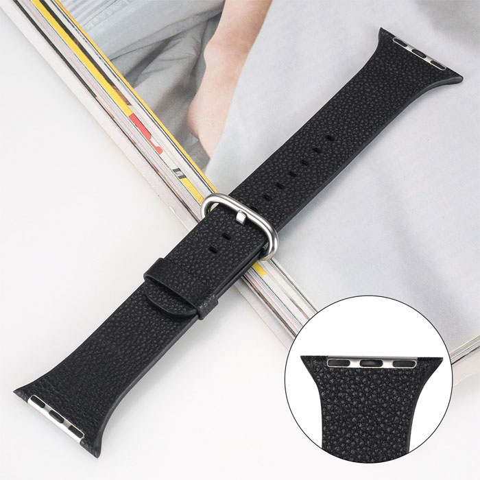 Genuine Leather Band Strap For Apple Watch Series 42mm Black